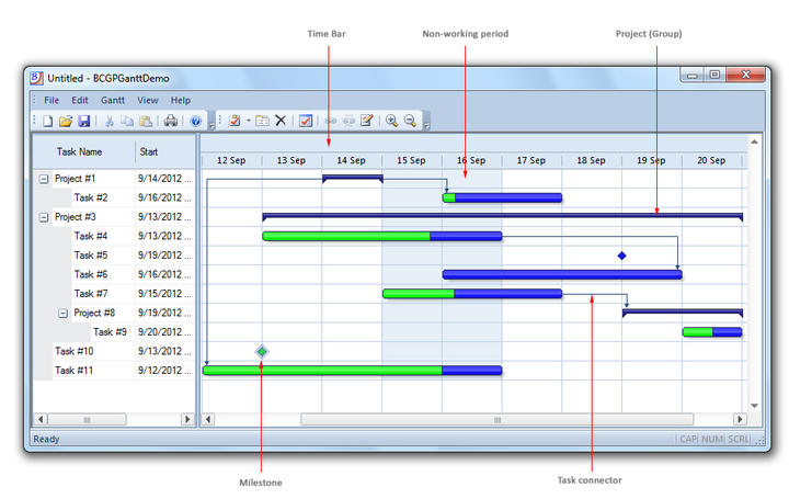 <strong>General Gantt Control Features</strong>: The Gannt Chart control automatically adjusts the horizontal scroll range in order to display any part of the time bar.<br /><br />