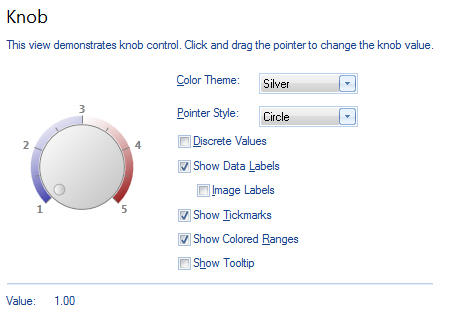 <strong>Knob Control</strong>: Knob control allows changing the scale indicator value by mouse or keyboard. Developer can customize the pointer appearance, scale, labels and color ranges. This control can be created as a standalone object or as a container object. Using this control allows creating fully-interactive digital dashboards.<br /><br />