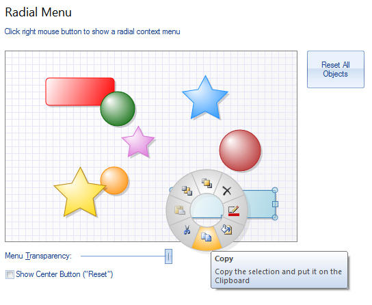 <strong>Radial Menu</strong>: Radial popup menu is a menu with radial shape where items are located around the center. Usually, the radial menu is intended for selected object handling. For the better look and usability, the recommended number of menu items is 8. Optionally, you can add an item to the center.<br /><br />