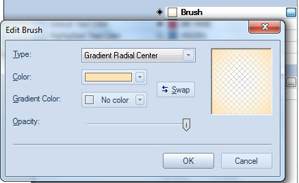 <strong>Brush button</strong>: Brush button is derived from the regular pushbutton control and displays a brush preview on left. When user clicks this button, modal brush edit dialog appears.<br /><br />