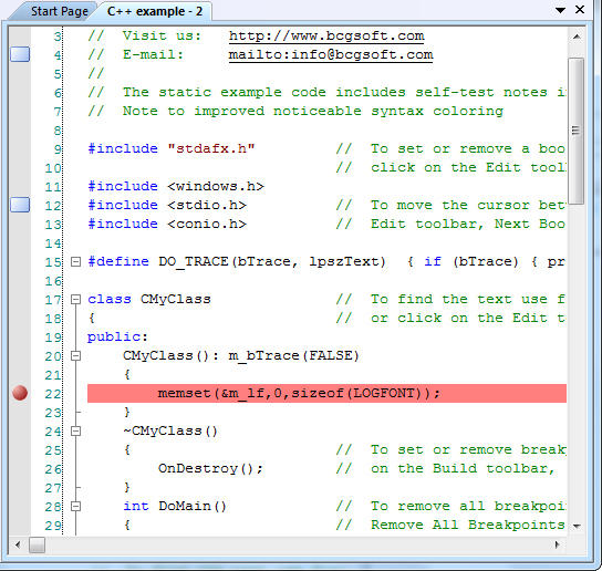 <strong>Syntax Highlighting support</strong>: BCGPEdit supports two levels of highly customizable syntax highlighting. First of all, you can create a syntax file (in XML format) to support any programming language. Secondly, we offer a set of virtual functions. You can override these functions and incorporate into edit control any logic you want. In our examples we demonstrate how to implement C++, ASP and custom schemes. The Editor is suitable for large number of applications - from simple chat clients to complicated development tools.<br /><br />
