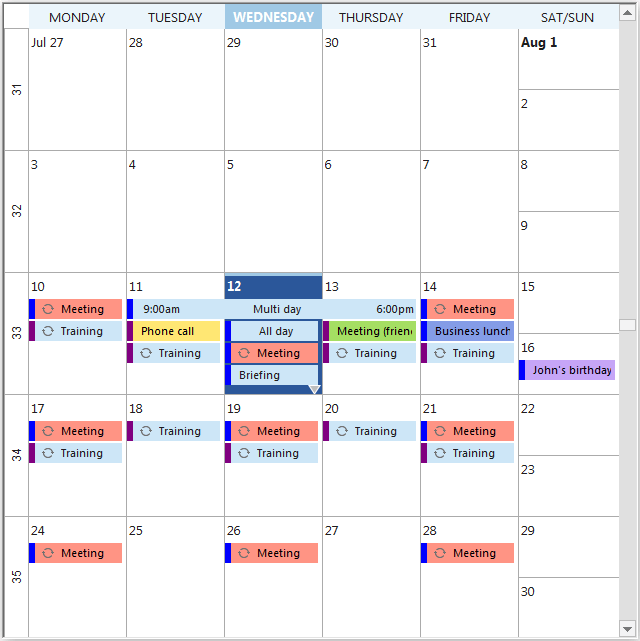 <strong>Month View</strong>: The planner control can display a month with all events that belong to this time period. <br /><br />