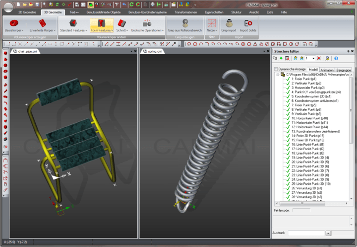 <strong>3D Modelling</strong>: Shows two 3D models in the CADMAI designer application.<br /><br />