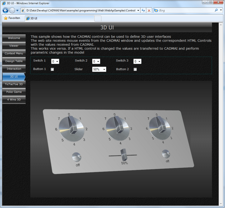 <strong>3D User Interfaces</strong>: Shows a CADMAI window with a 3D UI model in a web browser. The model sliders update properties in the hosting web site and vica versa.<br /><br />