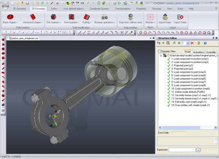 <strong>3D Assmblies</strong>: Shows a small assembly model in the CADMAI designer application.<br /><br />