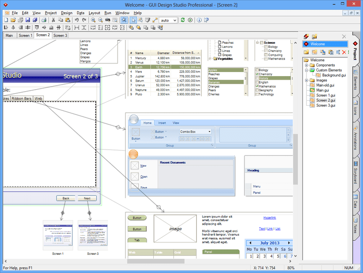 Screenshot of GUI Design Studio: GUI Design Studio supports the design of Windows desktop applications (including Microsoft Office 2007 style Ribbon Bars), Web applications and embedded or custom applications. Windows styling can be switched at any time between NT (Classic), XP and Vista with over 20 color schemes to choose from.