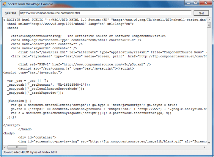 <strong>Screenshot of SocketTools ActiveX Edition</strong><br /><br />