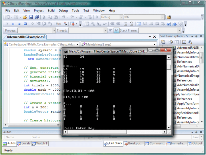 NMath Core: NMath Core contains vector, matrix and complex number classes, random number generators, numerical integration methods, cubic spline interpolation and other high-performance functions for object-oriented numerics on the .NET platform.
