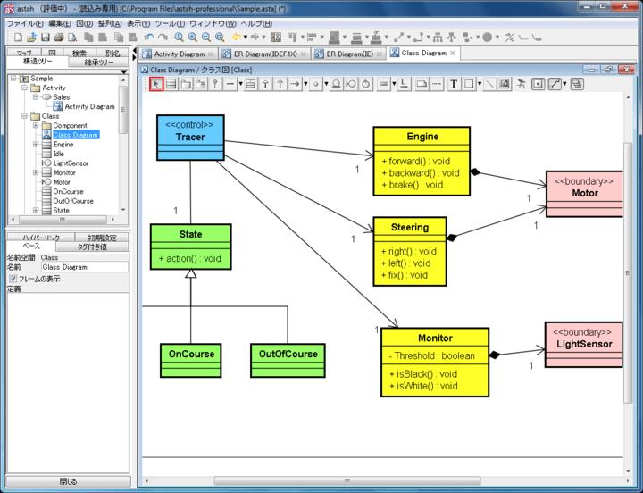 <strong>UML1.4全図、およびUML2.1に一部対応</strong>: クラス図(オブジェクト図/パッケージ図/ロバストネス図)、ユースケース図、シーケンス図、コラボレーション図、 ステートマシン図、アクティビティ図、コンポーネント図、配置図、合成構造図に対応します。<br /><br />