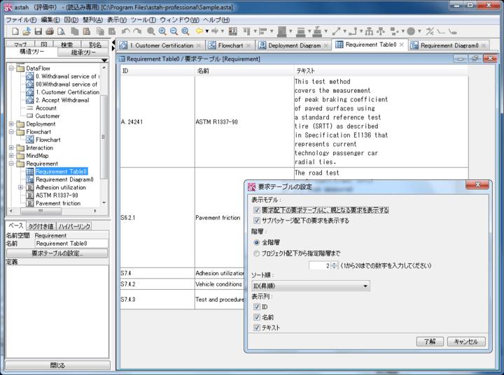 <strong>要求テーブル</strong>: 表形式で要求を編集したり、階層を指定して要求のID、名前、テキストを表示したりします。Excelへの入出力も可能です。<br /><br />