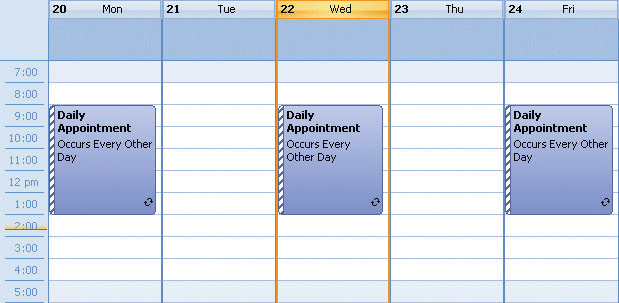 <strong>Daily Appointment</strong>: Xtreme Calendar allows you to add appointments that occur at a specific interval of days<br /><br />