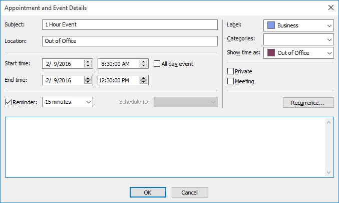 <strong>Appointment Dialog</strong>: From this dialog you can set the time, recurrence, label, category, even set a reminder. <br /><br />