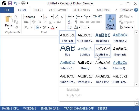 <strong>Microsoft Office Style Toolbars</strong>: Codejock Command Bars gives your Windows application toolbars a professional modern appearance similar to many popular Microsoft products. You can choose from several pre defined themes or create your own custom look.