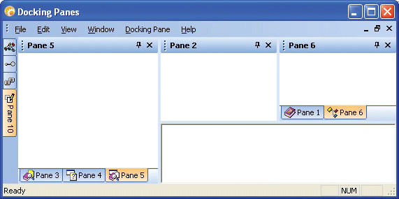 WYSIWYG .NET and Visio Style Docking: Codejock Software's Xtreme Docking Pane gives your application the power of WYSIWYG (what you see is what you get) style docking panes. You can create docking and splitting windows that are similar to Visual Studio .NET or Microsoft Visio. This gives you the ability to dock your windows to any side of your application's desktop while a visual clue is displayed representing where the docking pane will be positioned.