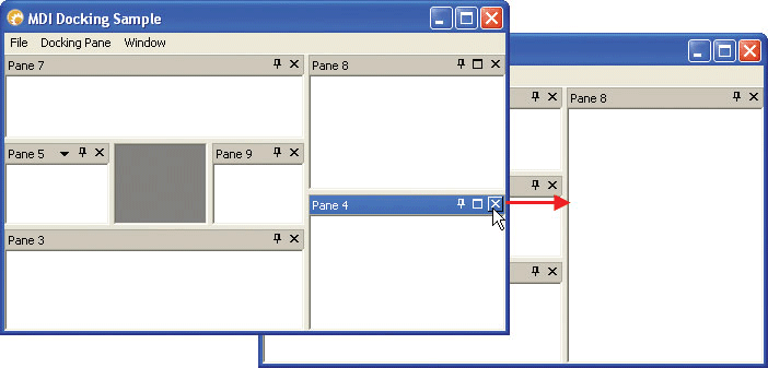 Hide and Show Panes: Codejock Software's Xtreme Docking Pane allows you to easily hide and show panes to optimize your application workspace. You can hide your docked or floating panes at runtime easily by pressing the small 'x' located at the upper right side of the caption area. You can also easily add commands to display and active your panes thru your application menu.