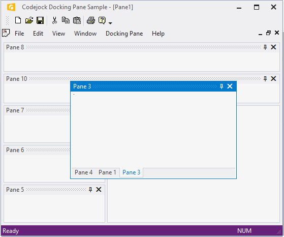 <strong>Floating Frames</strong>: Codejock DockingPane allows you to use themed floating frames for your floating docking panes. DockingPane will automatically use themed floating frames that match the currently set Docking Pane theme. <br /><br />