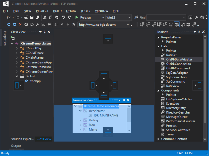 <strong>Theme Support</strong>: Codejock DockingPane provides your application with full Visual Studio theme support. <br /><br />