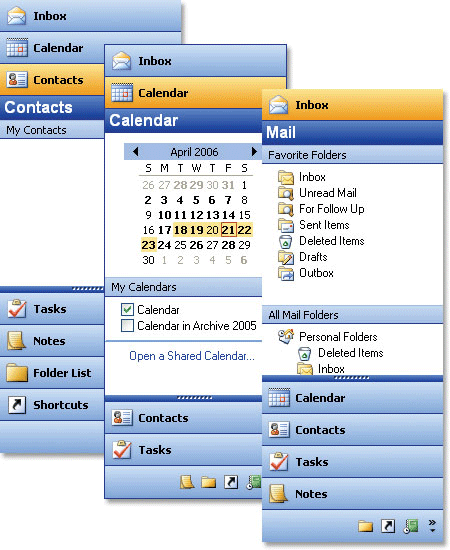 <strong>Outlook 2003 Shortcut Bar</strong>: The Outlook 2003 Shortcut Bar supports categorized menu grouping<br /><br />