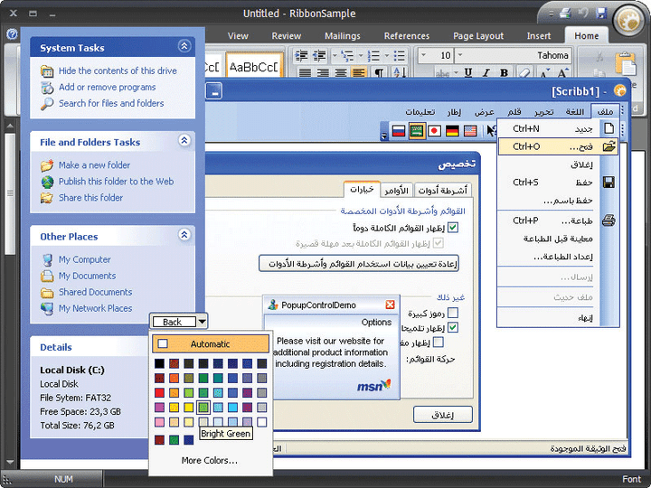 Controls and Language Translations: Several popular components such as color selectors, alert pop-ups and explorer task panels are available plus translations for 32 languages including support for right to left (RTL).
