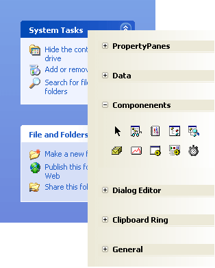<strong>TaskPanel Margins and Toolbox</strong>: You can change the margins surrounding the task panel groups. Also, you can create Toolbox style TaskPanel using group and item margins.<br /><br />