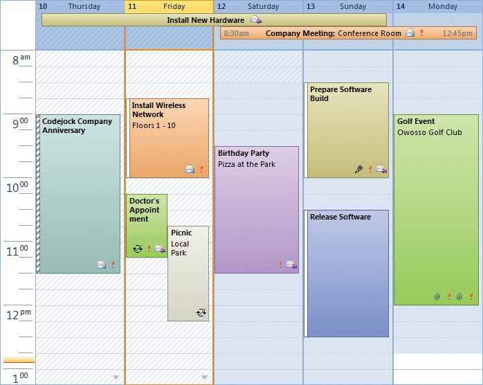 <strong>Calendar</strong>: Provides Windows developers with a sophisticated Outlook style Calendar.