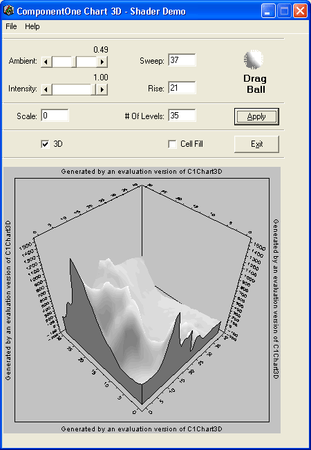 <strong>Shading</strong>: Shade your Charts. Set the ambient and Intensity levels and use the drag ball to set the shading level<br /><br />