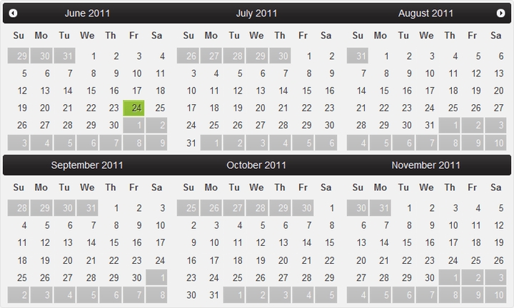 <strong>Calendar for ASP.NET Web Forms</strong>: Add a calendar to your website with ComponentOne Calendar for ASP.NET Web Forms with a single month or a table of months.