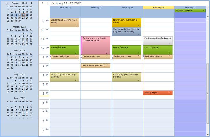 Schedule: Sample schedule overview.
