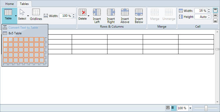 <strong>Insert and Edit Tables</strong>: Insert new tables, rows and columns with the click of a button. Specify individual cell borders, sizes and text alignments. You can even merge cells and convert plain text to tables just like in Microsoft Word.<br /><br />