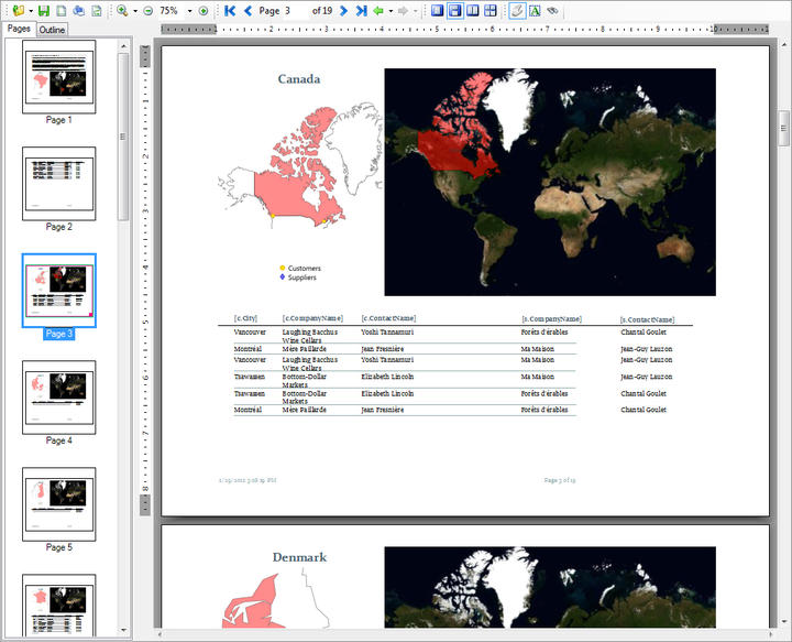 Render: Render maps on multiple pages of the report or show a single map at the beginning or end.