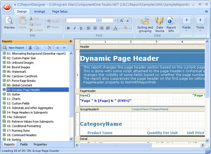 <strong>C1ReportDesigner</strong>: Microsoft Access-like UI of the C1ReportDesigner.<br /><br />