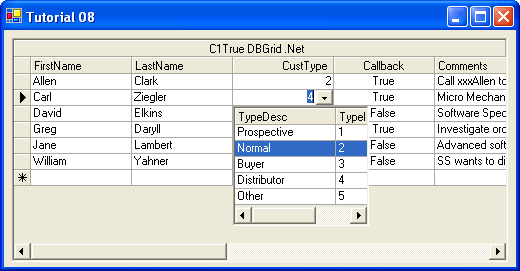 <strong>Attach a multicolumn True DBDropDown control to a grid cell</strong>: The C1TrueDBDropDown control can be bound to a data source, which makes it ideal for data entry involving a secondary lookup table.<br /><br />