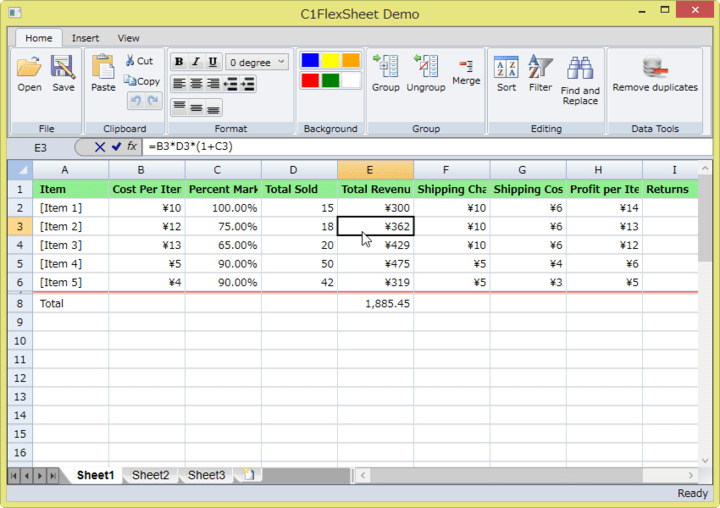 <strong>FlexSheet</strong>: Produce an Excel-like experience in your web app with FlexSheet, a fast, lightweight control allowing users to import spreadsheets, apply formulas, format and freeze cells, undo/redo, and export data to Excel. <br /><br />