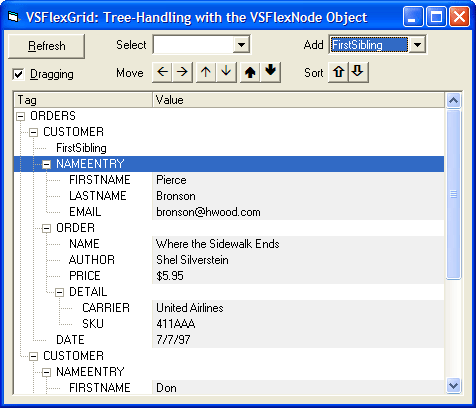 <strong>Outline Tree</strong>: Manage a VSFlexGrid outline tree using the VSFlexNode object. Build an outline tree from an XML file, then allows the user to move, select, add, and sort nodes.<br /><br />