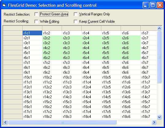 <strong>Selection</strong>: Use code to control extended selections and scrolling within your Grid applications.<br /><br />