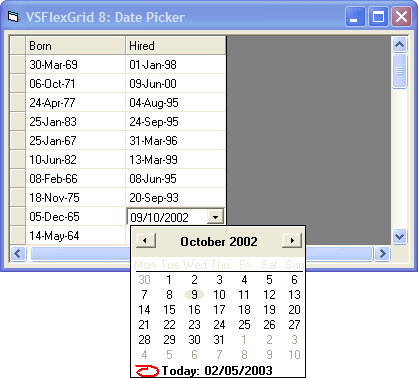 <strong>Date Time</strong>: Use DateTimePicker control to edit date entries. Use the VSFlexGrid control's CellLeft, CellTop, CellWidth, and CellHeight properties to position the DateTimePicker control over the cell being edited, then monitors the control to retrieve the user's selection and to finish the editing process.<br /><br />