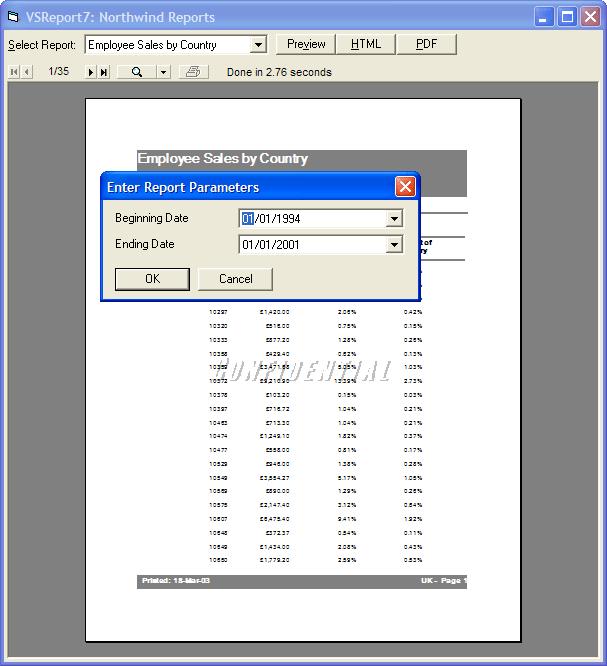 User Parameters: Create reports using user defined parameters.
