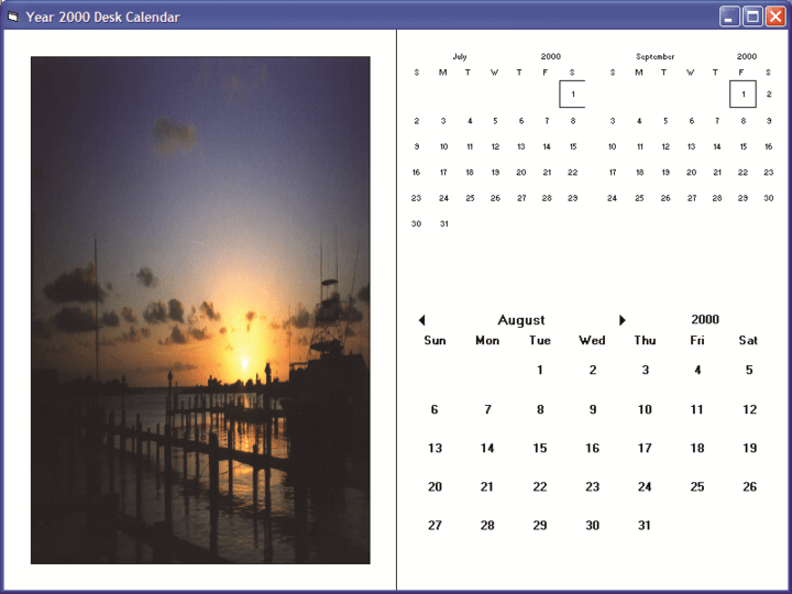 <strong>Desk Calendar Example</strong>: Include customized month layout - previous and next month areas and a decorative picture.