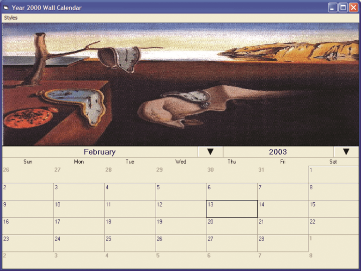 <strong>Wall Calendar Example</strong>: Include a picture and a large month display area.