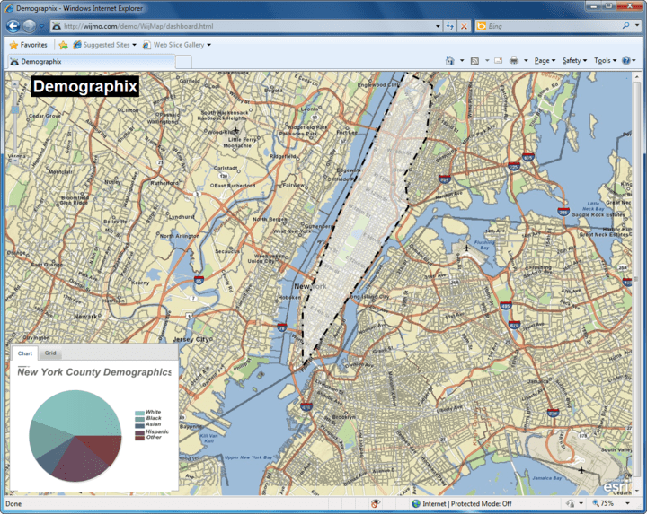 Demographix Map: Querying Demographic Data and Display in Chart. The Wijmo pie chart was added in an overlay that displays demographic data as a county is clicked on the map, along with the slider and tooltip.