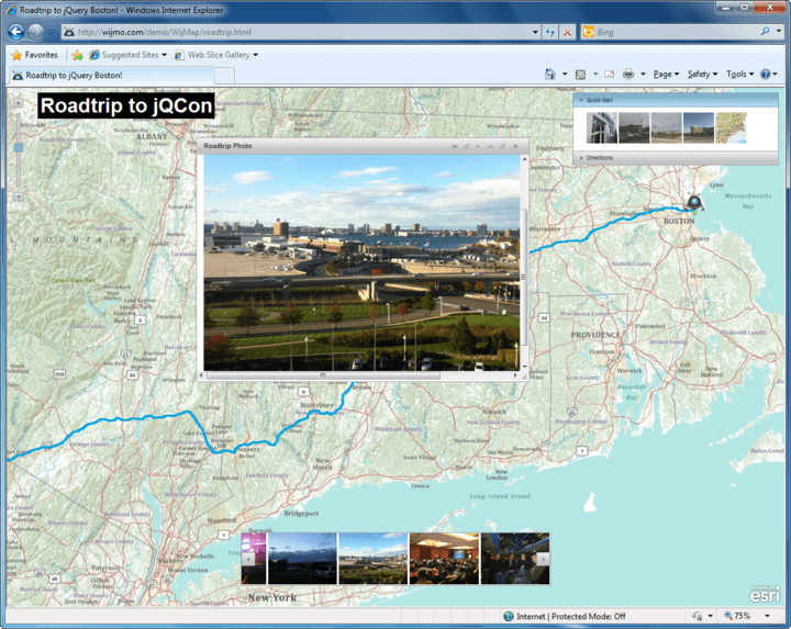 Roadtrip Map: This map plots the Wijmo team's actual course from Pittsburgh to Boston including stops made along the way. The map also shows photos from along the route. You can click the quick navigation and the photos will be filtered based on the location.