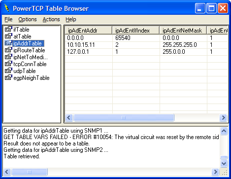 <strong>Table Browse</strong>: You can browse SNMP Tables.<br /><br />