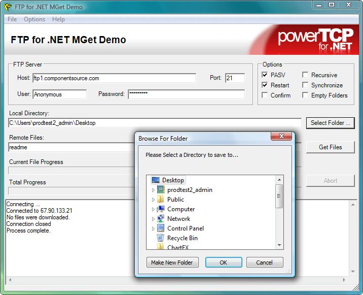 MGet: Use the Ftp component to retrieve multiple files from an FTP server to a local directory.
