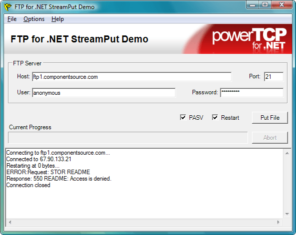StreamPut: Use the Ftp component to store a MemoryStream as a file.