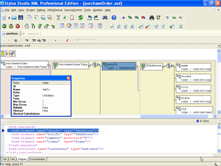 XML Schema Designer: The XML Schema Designer, consists of a split-pane interface, with a list of globally defined XML schema components at the top. Clicking on one of the components will display the component's model in the diagram view on the bottom of the XML Schema Designer. You can right click anywhere in the XML schema designer diagram, and add elements and attributes, etc, all from the context menu. The XML schema designer is completely configurable, including what co