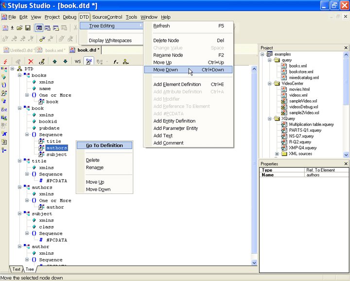 <strong>Document Type Definition Editor</strong>: The icons on the left margin alow you to create a new XML element definition, create a new attribute, create a modifier, create an element reference, add a #PCDATA, create a general entity, create a parameter entity, create a parameter entity reference, insert text, insert notation, or insert a comment. A context menu alows you to click on the tree and perform operations on a selected DTD node such as move up/move down, rename, and so on. A Properties w<br /><br />