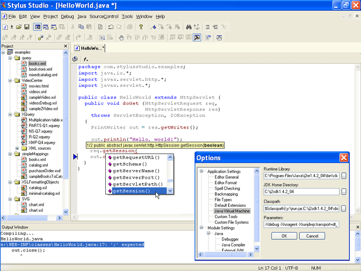 <strong>Java IDE</strong>: Stylus Studio's includes an integrated Java IDE that lets you edit, compile and work with any Java file directly within Stylus Studio. The Java editor provides enhanced java editing features such as Syntax coloring for reserved words (e.g: import, package, return, etc), Color coding that can differentiate between objects and methods, Java method sensing, including auto completion, and displaying the method signature for any Java function, Single click c<br /><br />
