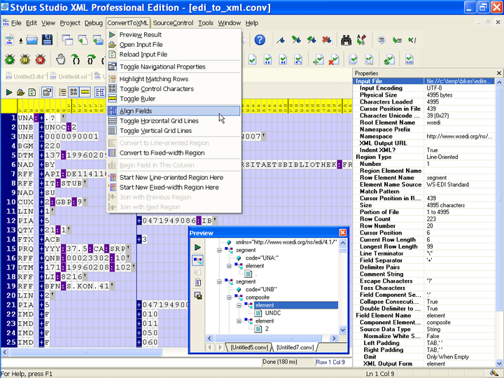 <strong>Converting to XML</strong>: Stylus Studio includes Convert to XML is a powerful tool for converting any legacy data, including flat files, comma separated values (CSV), tab separated values, binary data, EDI or any other file format into XML through an intuitive user interface. Convert to XML projects can be saved as live XML data sources for use in conjunction with Stylus Studio's XML mapping tools.<br /><br />