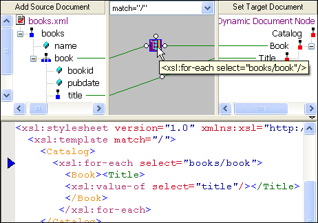 <strong>XML Mapper</strong>: True XML Mapping: Visual Editing of XQuery and XSLT