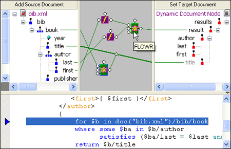 <strong>XQuery Mapper</strong>: Synchronized XML Schema Source Code and Visual Diagram View. <br /><br />